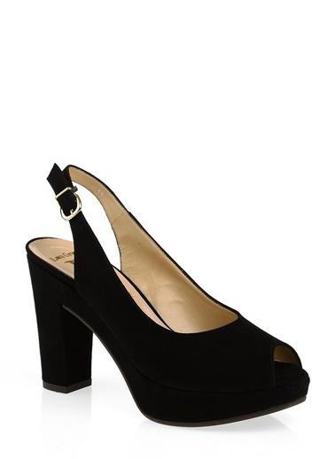 Divarese Kalın Topuklu Açık Burunlu Ayakkabı Siyah